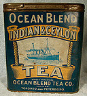 Unusual BLUE OCEAN BLEND TEA TIN c1900
