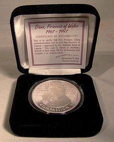DIANA $20 LIBERIA 1 OZ. PURE SILVER COINS 1997