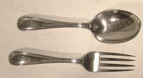 Birks SAXON Sterling CHILD'S SPOON & FORK SET