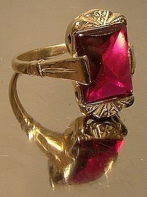 Cool ART DECO 10K SYNTHETIC RUBY RING c1920s-30s