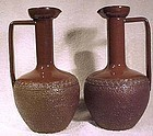 ARTS & CRAFTS BROWN STONEWARE EWERS c1900