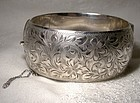 Wide Engarved Sterling Bangle Bracelet c1930s