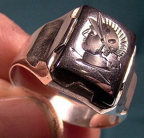 Man's STERLING Silver HEMATITE Alaskan Diamond Intaglio Centurion RING