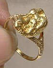 14K Yellow Gold Ring with Genuine Gold Nugget c1910-20