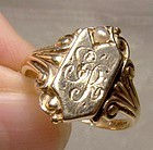 Art Nouveau 10K Gold Signet Ring with Pearl c1900