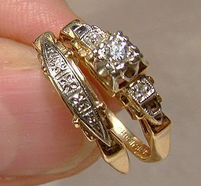 Art Deco 14K Gold Engagement Ring Set - Bluebird 1930s