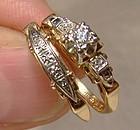 Art Deco 14K Gold Engagement Ring Set - Bluebird 1930s