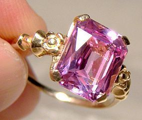 Art Deco 10K Rose Pink Topaz Ring 1930s