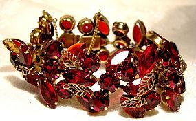 Kramer of NY Cherry Red Rhinestone Bracelet with Filigree Leaves 1950s