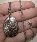 Sterling Engraved Sterling Silver Photo Locket & Chain Necklace 1960s