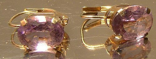 10K Yellow Gold Amethyst Earrings 1960s-70s - Leverback Pierced
