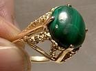10K Yellow Gold Malachite Cabochon Ring 1960s - Size 6