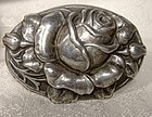 Antique Arts & Crafts 830 Silver Relief Rose Skønvirke Brooch 1900