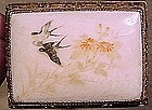 CHINESE SILVER GILT SCRIMSHAW BONE PIN c1930s