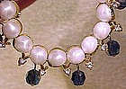 Signed TRIFARI SAPPHIRE, RS & FAUX PEARL NECKLACE