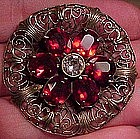 CZECH FILIGREE RED + WHITE CRYSTAL DRESS CLIP c1920