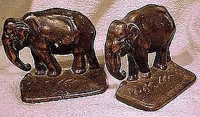 CAST IRON INDIAN ELEPHANTS BOOKENDS c1900-20