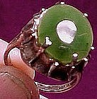 JADE & SCULPTED STERLING RING c1960s