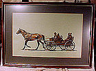 Signed MENNONITE FAMILY in HORSE & BUGGY INK DRAWING
