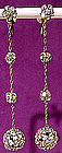 Super ART DECO RHINESTONE DANGLY BALL EARRINGS c1920s