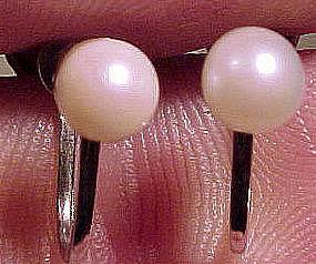 STERLING CULTURED PEARL SCREWBACK EARRINGS