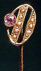 Victorian 14K AMETHYST SEED PEARLS STICKPIN C1900