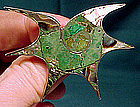 MEXICAN STERLING ABALONE MALACHITE STARFISH PIN BETO