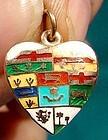 10K ENAMEL HEART CHARM - CANADIAN PROVINCES c1900