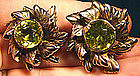 HOBE STERLING PERIDOT CRYSTAL STONE EARRINGS