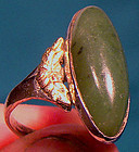 NEPHRITE JADE STERLING RING with GOLD