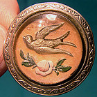 Reverse Painted ESSEX CRYSTAL BIRD and ROSE PIN c1900
