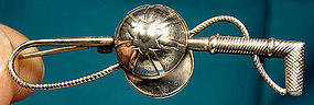 Jewel Art JOCKEY CAP & WHIP STERLING PIN c1940s