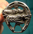 STERLING HORSE RACE HORSESHOE PIN c1900