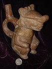 Pre-Columbian ~ MOCHE ~ Seated Figure STIRRUP Vessel