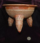 Pre-Columbian ~ MIXTEC / MIXTECA ~ Polychrome Painted Effigy TRIPOD