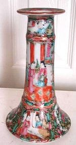 C. 1880 CHINESE EXPORT ROSE MEDALLION CANDLE STICK