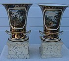 C.1820 PR. ENGLISH DERBY 2-PART URN VASES W/STANDS