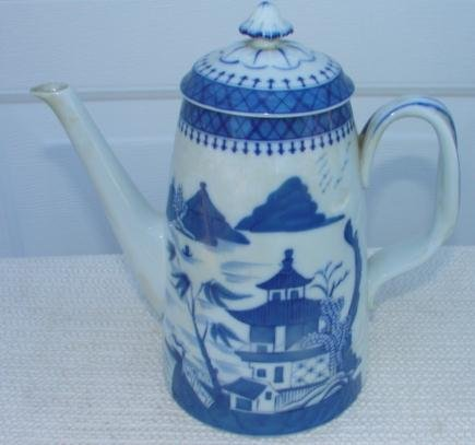 MOTTAHEDEH CHINESE EXPORT BLUE CANTON LIGHTHOUSE TEAPOT