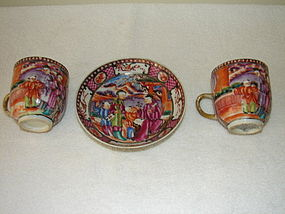 C. 1770 CHINESE EXPORT MANDARIN PALETTE 2 DEMI CUPS