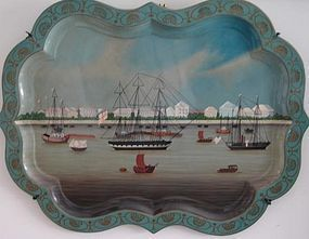 MAITLAND SMITH TOLE TRAY OF HONGS AND HARBOR CHINA