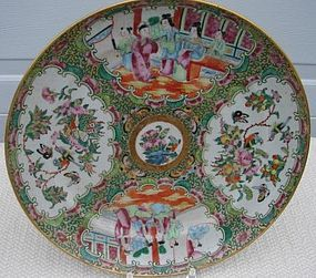 CIRCA 1860 CHINESE EXPORT ROSE MEDALLION  PLATE 9 5/8""