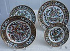 CIRCA 1850 SET OF (4) FOUR 1000 BUTTERFLY  PLATES