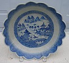 CIRCA 1850 BLUE CANTON LARGE SAW  TOOTH BOWL