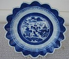 CIRCA 1880 CHINESE EXPORT BLUE CANTON SAW TOOTH BOWL