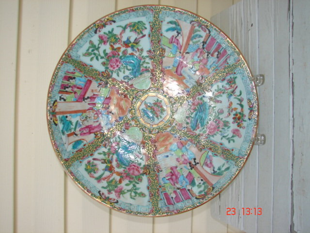 C. 1840 CHINESE EXPORT ROSE MEDALLION CHARGER,14 3/4""""