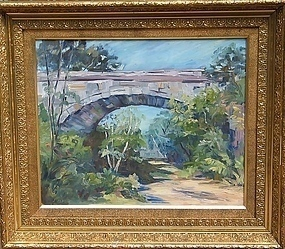 20TH CENTURY OIL ON BOARD ROCKPORT BRIDGE