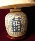 CHINESE BLUE AND WHITE DOUBLE HAPPINESS LAMP W/SHADE