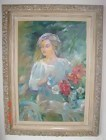 LIFE SIZE PAINTING OF LADY  WATERING FLOWERS IN GARDEN