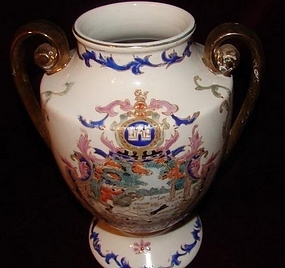 C.1920  DOUBLE HANDLE PORCELAIN VASE W/ HUNT SCENE