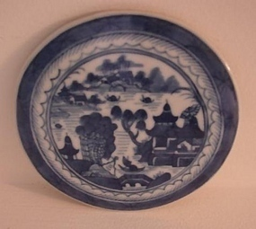 C.1840 CHINESE EXPORT BLUE CANTON ROUND TRIVET/TILE